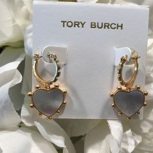 ★TORY BURCH MOTHER OF PEARL HEART CHARM EARRINGS★